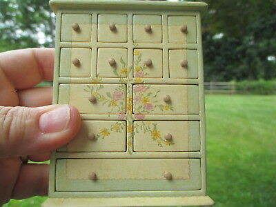 Dollhouse Miniatures ~ Lovely Hand painted Chest or Dresser w/ 3 Drawers, Signed