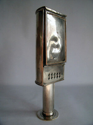 19Th Century Silver Plated Travelling/coach/student Candle Lamp~Match/vesta Box