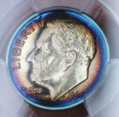 1962 Silver Proof Rosy Dime - PCGS PR65 - TONED