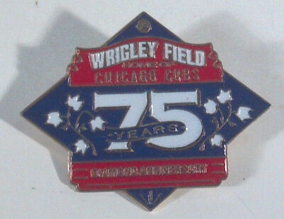 """Chicago Cubs Wrigley Field 75 Years Diamond Anniversary Pin 1.5"""" NO BACK"""