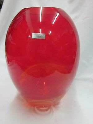 Evolution By Waterford Red And Amber Swirl Vase 7760 Picclick Uk