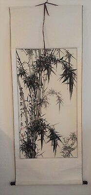 Vintage Chinese Watercolor Bamboo Wall Hanging Scroll Painting Hand-Painted 5 FT
