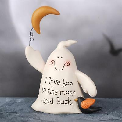 Blossom Bucket - 'I Love Boo' Ghost with Moon and Crow   #176-11283