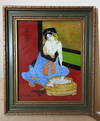 antique original Japanese figural bathing lady reverse painted glass painting