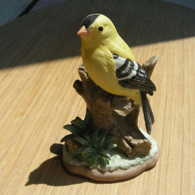 Vintage George Good Goldfinch Figurine Yellow Bird Tree Branch Painted Ceramic
