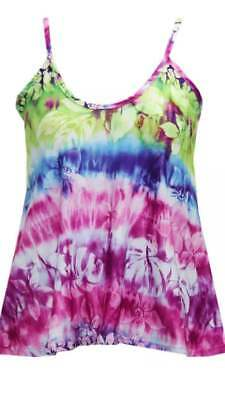Ladies Sleeveless Cami Vest Top Swing Strappy Womens Floral Tie Dye Tops 8-26