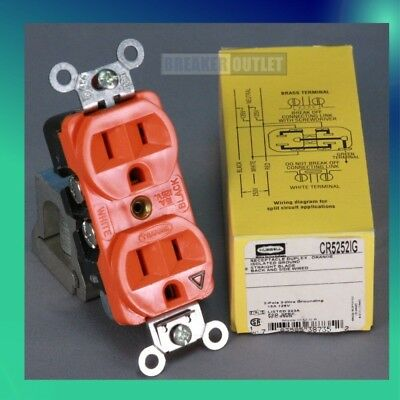 New 20A Isolated Ground Receptacle - Hubbell - CR5352IG Orange Duplex 125V