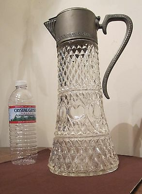 huge antique thick glass silver-plate glass ornate tankard pitcher lidded stein