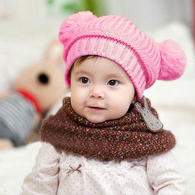 4c01def2bd9 Cute Baby Kids Girl Boy Dual Balls Warm Winter Knitted Cap Hat Beanie Pink  Hat