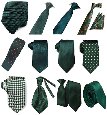 Bottle Green Collection Woven Paisley Jacquard Silky Knit Satin Tie Wedding lot