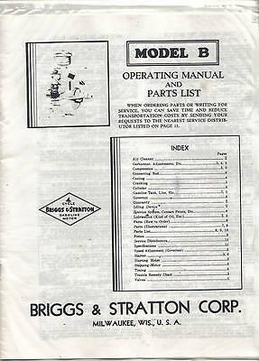 """Briggs & Stratton """"model B"""" Operating Manual And Parts List"""