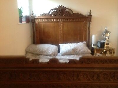 French/breton Mid 20Thc Antique Vintage Solid Wood Double Bed From Brest