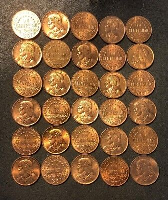Old Panama Coin Lot - CENTESIMOS - 30 COINS - All Coins AU RED - Lot #79