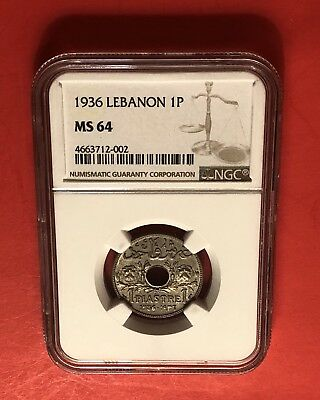Lebanon-Unc 1 Piastre 1936 ,geaded By Ngc Ms64........rare Grade.