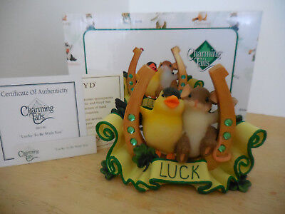 Charming Tails Lucky To Be With You Figurine Bird Mouse & Horseshoe Fitz & Floyd