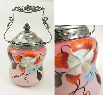 Art Glass Biscuit Cracker Jar Pink Made in Austria Hand Painted Enamel Flowers