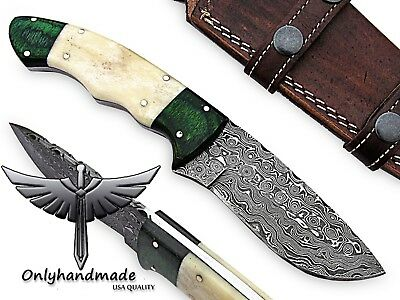 Beautiful Damascus Knife Made Of Remarkable Damascus Steel hunting skinner knife