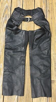 QUALITY Harley Davidson Black Leather Motorcycle Riding Chaps Women's Size Small