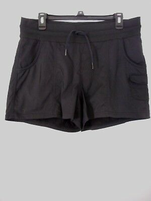 North Face Solid Black 3 Pocket Elastic With Drawstring Waist Shorts Size L