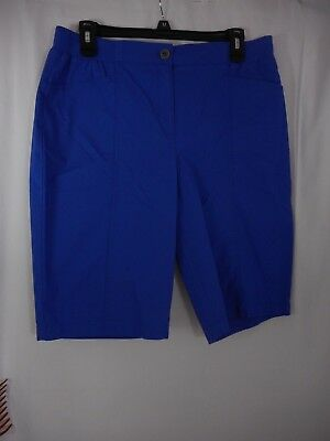 Chico's Women's Casual Solid Royal Blue Elastic & Zipper Front Shorts Size 0.5