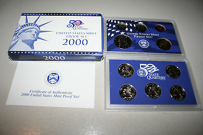 2000 US Coin Proof Set Dollar Kennedy Half State Quarters 10 Coin Free Ship 7977