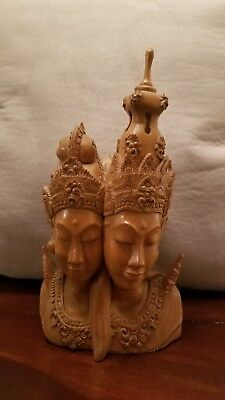 Bali Hand Carved Mulyani  Crocodile Wood Statue of Two Busts Excellent Condition