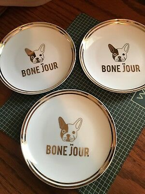 "Doghaus Bone Jour French Bulldog Set of 3 small  6"" plates"