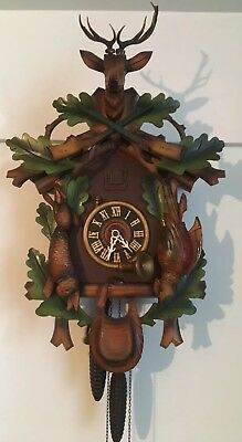 Working German Cuckoo Clock Wood Carved Colored Hunter Black Forest