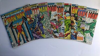 Iron Man (1968 1st Series) Bronze Age Marvel Comic Book Lot of 10 VF/FN/