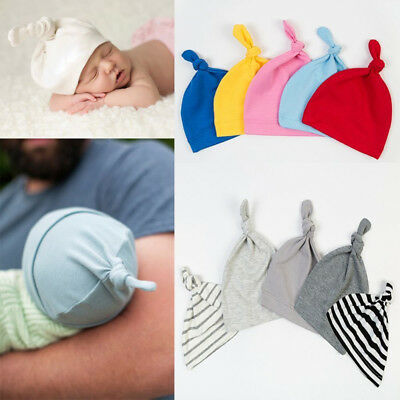 KD_ Cotton Beanie Newborn Baby Knotted Hat Boys Girls Soft Cap Infant Toddle H