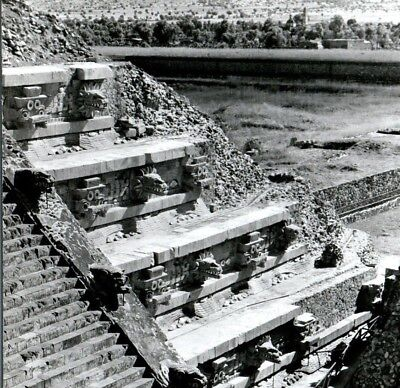 Temple of the Feathered Serpent Teotihuacan Quetzalcoatl RPPC Vintage Postcard