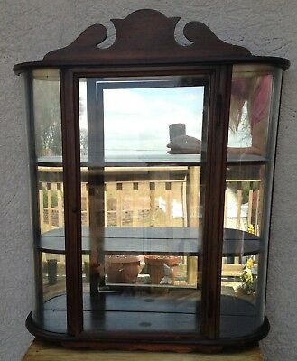 Vintage Wall Mount Curio Display Cabinet, 3 Shelves, Round Curved Glass Front