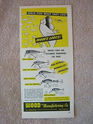 Vintage 1949 Wood Dipsy Deep-R-Doodle Spot Tail Minnow Fishing Lures Print Ad