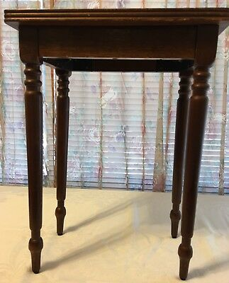 Vintage Miniature Leather Top End Table, Night Stand