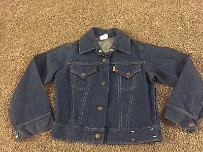 vintage 70s LEVIS ORANGE TAB Blue Denim Snap Jean Jacket Youth Kids Small RARE
