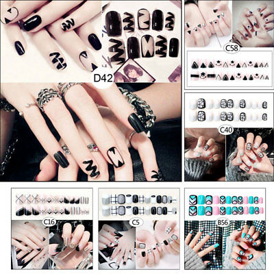 24 Pcs/Set Women Lady 3D Fake Nails With Glue Wrapped Tips Artificial False Nail
