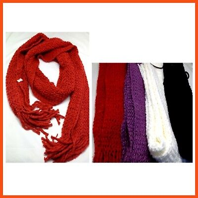 12 x LADIES DONUT KNIT STYLE SCARVES | Knitted Neck Soft Fashion Wrap Shawl Head