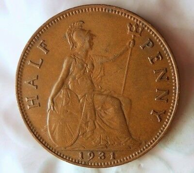 1931 GREAT BRITAIN 1/2 PENNY - Collectible Coin - FREE SHIP - Britain Bin K