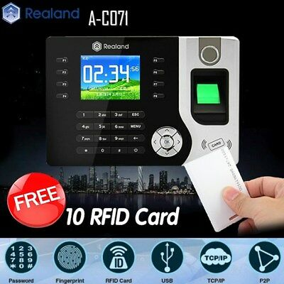 Realand Biometric Fingerprint Time Attendance Clock TCP/IP USB FREE 10 RFID Card