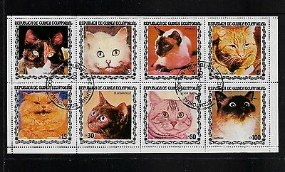 EQUATORIAL GUINEA - Cats, mini sheet