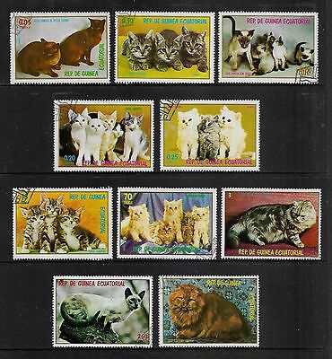 EQUATORIAL GUINEA - 1977 & 1978 Cats, Kittens, large sized stamps