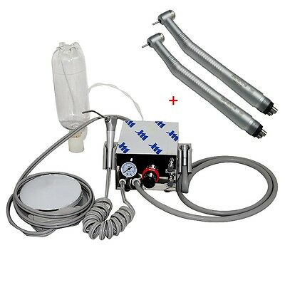 US Portable Dental Turbine Unit Air Compressor + 2×Fast Speed Handpiece Push 4H