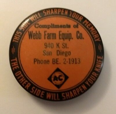 Webb Farm Equipment Advertising Wet Stone Knife Sharpener San Diego Cal Chalmers