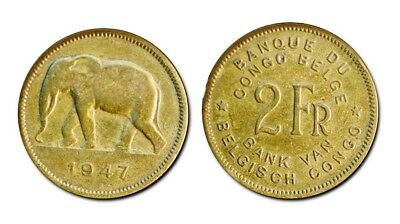 Ten (10) Belgian Congo 2 Francs Coins, KM28  F-VF African Elephant