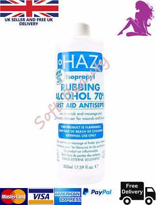Haz Isopropyl Rubbing Alcohol 70 First Aid Antiseptic Body Wounds Bruises 500ml