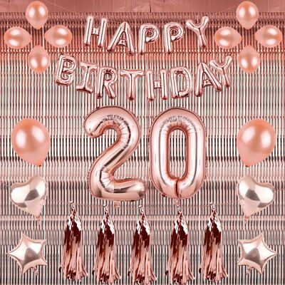 Rose Gold 18/21st/30/40/50 Latex Number Happy Birthday Balloons Party Curtain UK