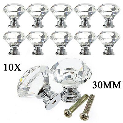 10PCS 30mm Zinc Alloy Clear Crystal Glass Door Cabinet Knobs Drawer Pull Handles