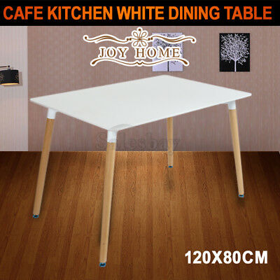 JOYHOME 120x80CM Replica Eames Cafe Dining Table Kitchen DSW Eiffel Chairs White