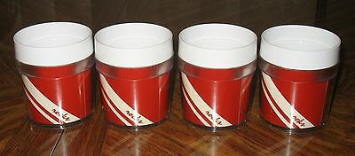 Thermo Serv Rocks Cocktaill Plastic Cups Glasses Red White Stripe Set Of 4