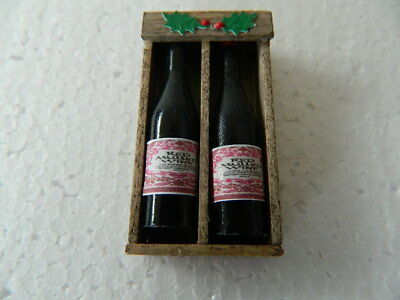 (Cf.19) Dolls House Handmade Wooden Box With 2 X Bottles Mulled Wine (Empty)